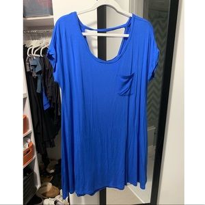 Royal Blue Short Sleeve T-shirt Dress